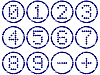 Matrix digits icons grunge set