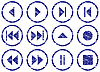 Vector clipart: Multimedia navigation buttons grunge set