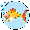 Vector clipart: Golden fish cartoon
