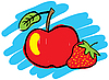 Vector clipart: Strawberry and red apple