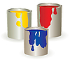 Three containers with yellow, red and blue paints | Stock Vector Graphics