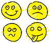 Vector clipart: Cartoon set of smileys