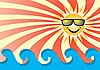 Vector clipart: Sun over sea waves
