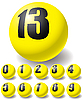 Vector clipart: Numeric yellow balls