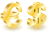 Dollar and euro money 3d symbols