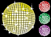 Colored set of mirror disco-balls