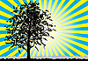 Vector clipart: Tree silhouette and sunny rays