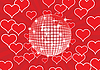Vector clipart: Disco ball on red background