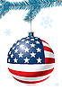 Vector clipart: Christmas ball with US flag