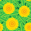 Vector clipart: background with grass and flowers