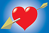 Векторный клипарт: Сердце и стрелки на синем фоне