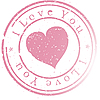 Vector clipart: Stamp -I love you-. Pink