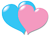 Vector clipart: Two in love hearts