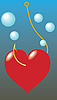 Vector clipart: Heart have caught on hook