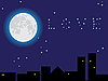 Vector clipart: The moon in the star sky