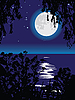Vector clipart: Lunar path on lake at night