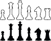 Векторный клипарт: Шахматные фигуры, черно-белые контуры