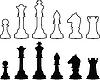 Chessmen, black and white contours