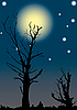 Vector clipart: Dead trees on background of the full moon.