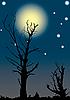 Векторный клипарт: Мертвые деревья на фоне полной луны.