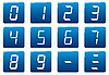 Vector clipart: Liquid crystal digits square icons set