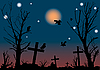 Vector clipart: Halloween night scene
