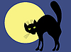 Vector clipart: Black cat and moon