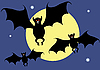Vector clipart: Bats on background of the moon