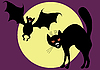 Vector clipart: Bat and cat