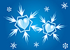 Vector clipart: Two hearts - snowflakes
