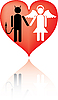 Vector clipart: Devil and Angel. It is love