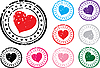 Vector clipart: Stamps with hearts