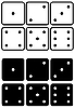 Vector clipart: Dices set. Black and white contour