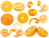 Photo 300 DPI: Set of orange and tangerine fresh fruits