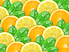 Background of citrus slices with green leaves | Stock Foto