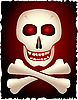 Vector clipart: Skull and cross-bones on gradient background