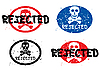 Vector clipart: Rejected stamp with skull