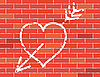 Vector clipart: Heart and arrow on brick wall