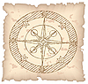 Vector clipart: Old compass on paper background