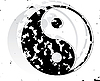 Yin and Yang grunge symbol