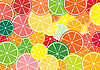 Vector clipart: Citrus slices multicolored background