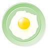 Vector clipart: Fried eggs on green plate