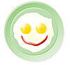 Vector clipart: Fried eggs and ketchup in smile form
