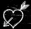 Vector clipart: Heart symbol on black grunge background