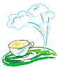 Vector clipart: Flowers and sun in cup
