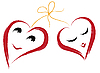 Vector clipart: Two smiling hearts