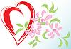 Vektor Cliparts: Grußkarte mit Herz und Blumen