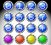 Vector clipart: Set of multicolored glasses round buttons