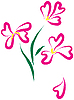 Vector clipart: Still-life with pink flowers as heart-form