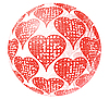 Vector clipart: Glass sphere with red ornament of heart